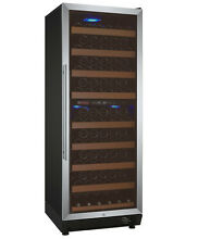 Allavino 99 Bottle Wine Cooler Refrigerator Dual Zone Stainless Steel Glass Door