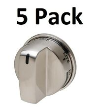 Stainless Knob for LG EBZ37189611 GE WB03K10286 Stove Range No SuperBroil 5 Pack