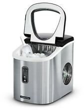 Ice Maker Countertop Tramontina Stainless Steel Compact IceMaking Machine Silver