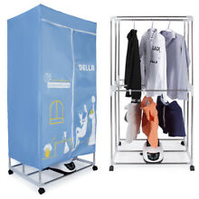 15KG Compact Electric Portable Energy Saving Clothes Dryer Rack w  Wheels  Blue