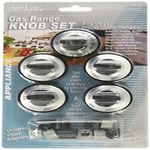 Aqua Plumb Rkg Gas Range Knob Set Replacement Black With Silver Overlay 5 Pac