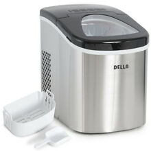 Portable Electric Ice Maker Stainless Steel Up to 26 Pounds per Day Cap  Silver