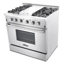 Kitchen 36  Stainless Steel Gas Range Oven 4 Sealed Burner Stove With Griddle