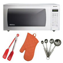 Panasonic 1 6 cu  ft microwave oven kit w  tongs  measuring spoons and oven mitt