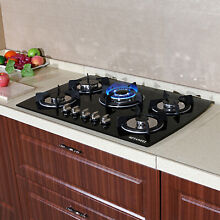 METAWELL Black 30  Tempered Glass Built in 5 Burner Cooktops LPG NG Gas Cooker