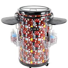 32  Tall 70 Bottle Refrigerated Rolling Party Cooler Catering Wire Baskets Red