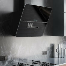 30  Cattaro Series Stainless Steel Wall Mount Range Hood Black Glass 600  CFM