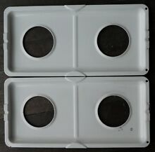 Gas Stove Range Double Drip Tray Bowl Pan  Set of 2  Bisque Whirlpool Maytag DR