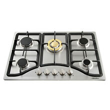 Fashion 30  Stainless Steel 5 Burners Cooktop Built in Natural Gas Hob Cooker