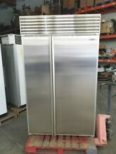 SUB ZERO 48  SIDE BY SIDE BUILT IN REFRIGERATOR WITH PERFECT STAINLESS DOORS