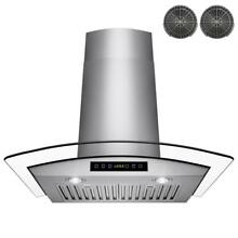 AKDY RH0270 30  Convertible Wall Mount Range Hood SS Tempered Glass Touch  287