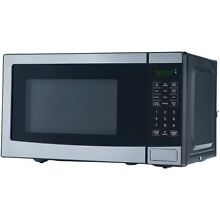 NEW MAINSTAYS 0 7 CU  FT  700W STAINLESS STEEL MICROWAVE  STAINLESS STEEL  DISTR
