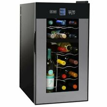 NutriChef 24 Bottle Dual Zone Thermoelectric Wine Cooler   Red and White Wine