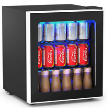 60 Can Beverage Mini Refrigerator w  Glass Door Storage Fridge Soda Drink Cooler
