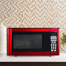 Red 1 1 Cu Ft Kitchen Microwave Oven Stainless Steel 1 Touch Cooking Child Safe