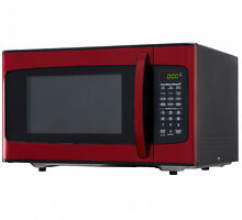 Red Stainless Steel 1 1 Cu Ft Microwave Oven Child safe W  6 Quick Set Buttons