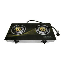 25k BTU 28  x 15  Propane Double Stove 2 Gas Burner Tempered Glass Cooktop Steel