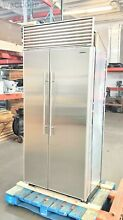 SUB ZERO 36  SIDE BY SIDE REFRIGERATOR PERFECT STAINLESS DOORS   TUBULAR HANDLES