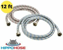 12ft Long Washing Machine Supply Hose Stainless Steel Braided Hippohose 2 Pack