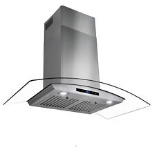 36   Touch Control Stainless Steel Glass Wall Mount Range Hood w  Baffle Filters
