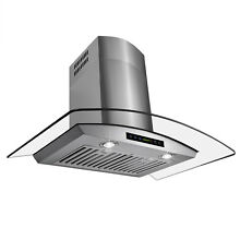 Stylish 30  Stainless Steel Wall Mount Range Hood with Tempered Glass