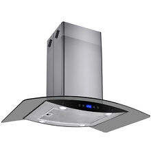 36  Island Mount Stainless Steel Glass Kitchen Range Hood Vent w  Carbon Filters