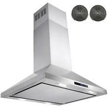 30  Stainless Steel Island Mount Range Hood Touch Screen Display Vents
