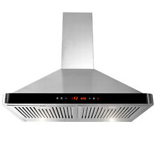 30  Stainless Steel Kitchen Wall Mount Luxury LED Black Control Panel Range Hood