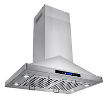 30  Island Mount Stainless Steel Range Hood w  Touch Control Panel and LED Light