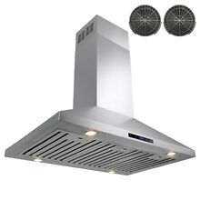 36  Stainless Steel Island Mount Range Hood Touch Screen Panel w  Carbon Filters