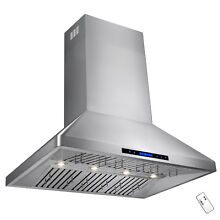 42  Dual Motor Stainless Steel Range Hood With Touch Screen Panel Wall Mount
