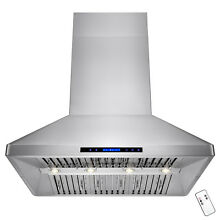 48  Dual Motor Stainless Steel Island Mount Range Hood Touch Screen Six Filter