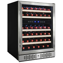 46 Bottles Dual Zone Built in Compressor Wine Cooler Refrigerator Touch Control