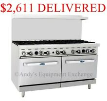 NEW  60  10 Burner Range with Double Oven  Gas  Cast Iron Grates  NSF  ATO 10B