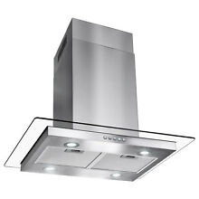 30  Modern Island Canopy Mount Range Hood Flat Glass Push Button Panel LED Mesh