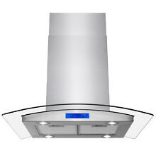 30  Island Mount Range Hood Convertible Stainless Steel Glass Touch Panel Fan
