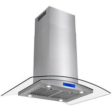 36  Island Mount Range Hood Stainless Steel  Curved Glass Touch Control Fan