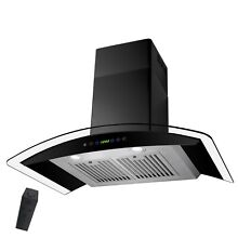 30  Wall Mount Range Hood Black Stainless Steel w  Remote  Timer