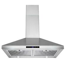 30  Stainless Steel Wall Mount Range Hood Touch Panel with Baffle Filters