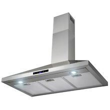 36  Stainless Steel Wall Mount Range Hood Touch Control w Mesh Filters and Clock