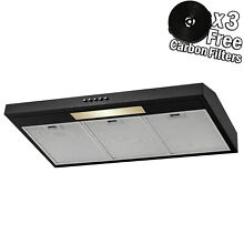 36  Under Cabinet Black Finish Stainless Steel Push Panel Kitchen Range Hood