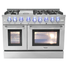 48  Thor Gas Range HRG4808U Stainless Steel Griddle 6 Burner Double Oven Updates