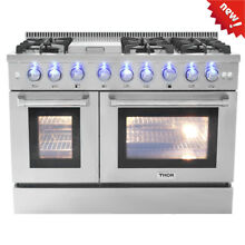 48  Thor Gas Range HRG4808U 1 Stainless Steel Grill Griddle 6 Burner Double Oven