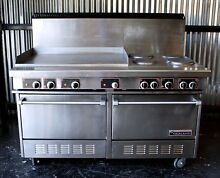 GARLAND Commercial Electric Range 60  4 Sealed Burners 2 Ovens 36  Therm Griddle