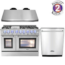 Thor 48  Freestanding Professional Gas Range  Under Cabinet Hood  24  Dishwasher