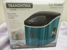 Ice Maker Compact Tramontina Stainless Steel Countertop Ice Making Machine Teal