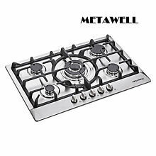 30 inch Silver Stainless Steel Built in 5 Burner Kitchen Gas Hob Cook Tops USA