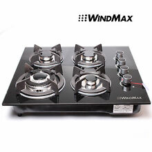 23 6  Tempered Glass Panel GAS COOKTOP WindMax Hob Stove Cook Top Kitchen Black