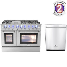 Thor 48 Gas Range HRG4808U 6 Burners Cooktop Double Oven and 24  Dishwasher Home