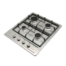24  Stainless Steel Cooktop Iron Cap Built In 4 Burners NG LPG Gas Hob Stove